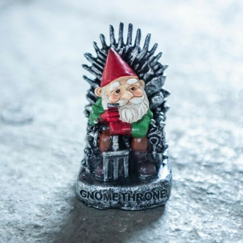 Gnome On Iron Throne Garden Ornament GOT Style Novelty Statue Game Of Thrones