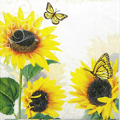 4x Paper Napkins for Decoupage Decopatch Craft Sunny Butterfly