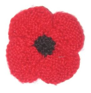 Hand Knit Red Poppy Flower Brooch 7cm Remembrance Day 150 To
