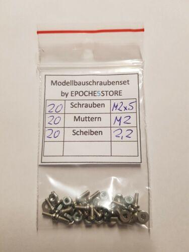 20 Stück Modellbauschrauben M2 x 5 mit Muttern und Scheiben
