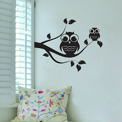 Owl on Tree Wall Vinyl Sticker Decal Livingroom Children Mural Art Nursery Hall