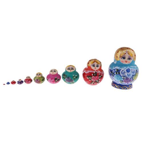 Girls Printed Russian Babushka Matryoshka Nesting Dolls Xmas Gift 10pcs Set