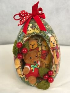 Image Is Loading Today Tomorrow Corp Vintage Flocked Bear Christmas Ornament