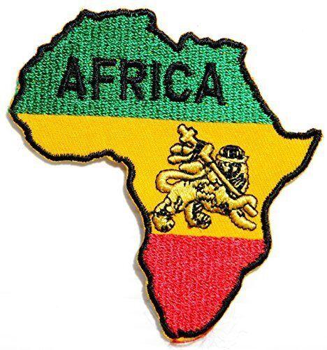 "AFRICA Lion Judah Rasta Reggae Ethiopia Selassie Iron On Shirt Badge Patch 3.6/"""