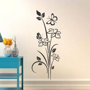 Details about Flower With Butterflies Wall Sticker Art Vinyl Decals BedRoom  Mural Decor