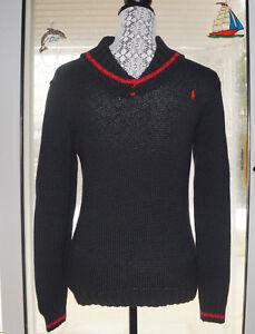 a8f0ab8b5 Polo Ralph Lauren Pullover Sweater Boy s Large Shawl Collar Black ...