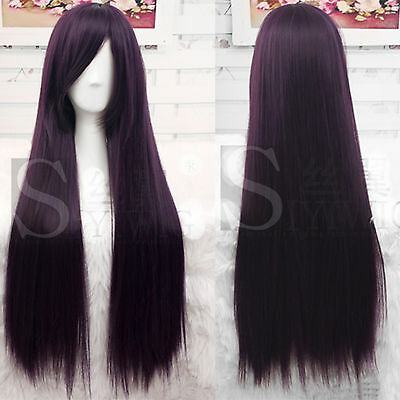 80cm Full Long Straight Hair Wigs Fashion Cosplay Party Black Purple Wig