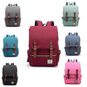Shoulder-Canvas-Backpack-Zipper-Outdoor-School-Laptop-College-Bag-Men-Women