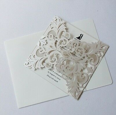 Elegant Floral Cut 7Colors Wedding Invitation Cards Free Envelopes, inner sheet