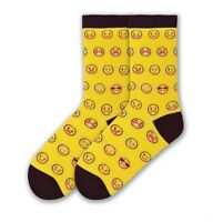 K. Bell Women's Socks Emoticons On Yellow Crew Sock Size: 9-11