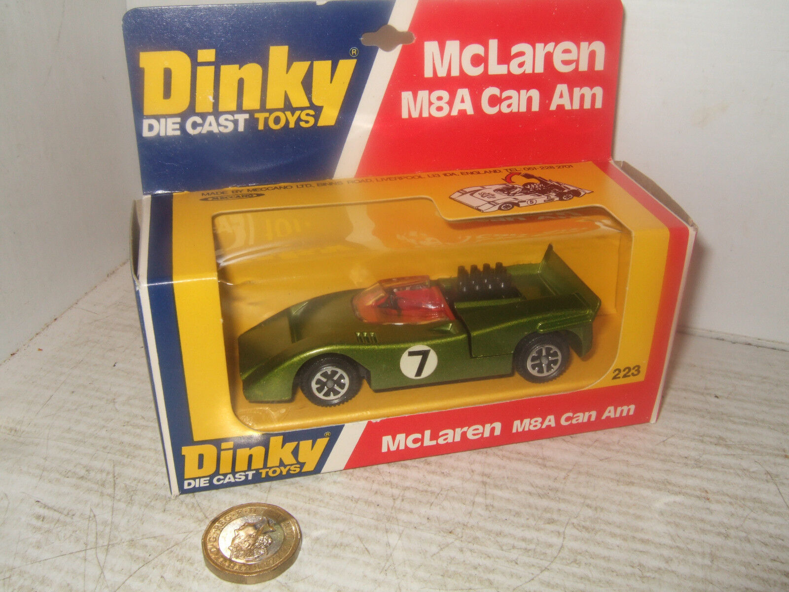 Vintage Dinky 223 McLaren M8A Can Am in original Dinky Box