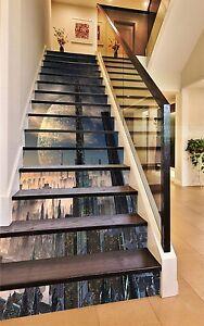 3d Planet City Stair Risers Decoration Photo Mural Vinyl