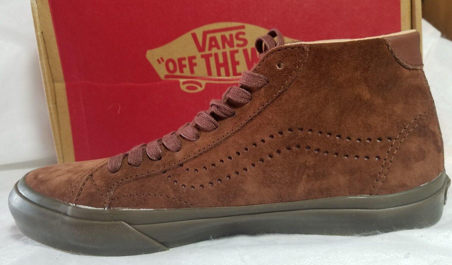 Vans Court Mid DX Tanner Leather Suede Cappuccino Brown Dark Gum shoes Men 6.5