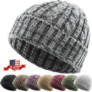 Cable Knit Beanie Ski Cap Skull Hat Warm Solid Winter Cuff New Blank ... 3d858a69a8d7