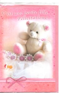 carte félicitations naissance fille Carte Félicitations Naissance.Fille. Rose.C'est une fille.18,5 cm