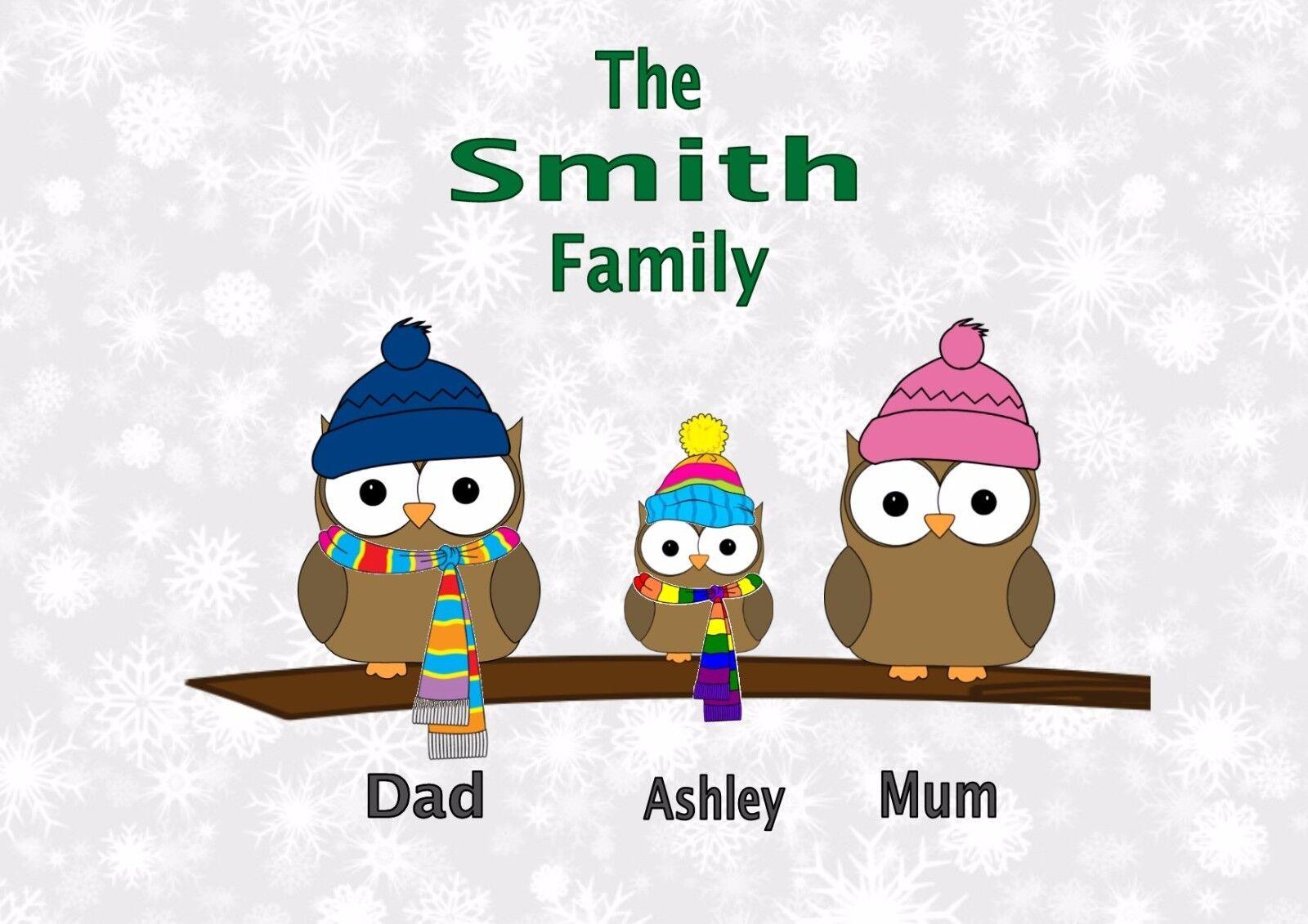 Buho De Invierno Personalizado Familia (1 Niño) A4 impresión (Sin marco), mamá, papá, familia