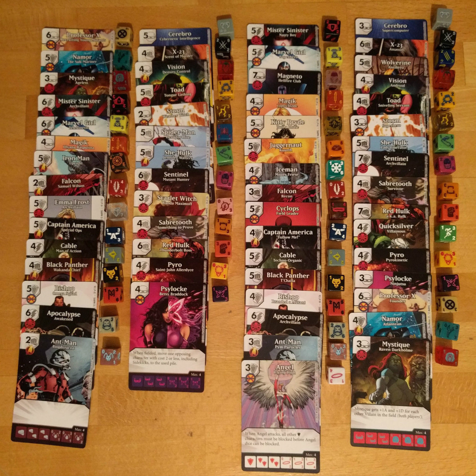 Set of COMMONS and UNCOMMONS Uncanny X-Men Dice Masters (WITH DICE)