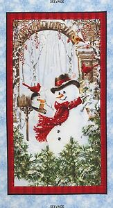23-034-Fabric-Panel-Timeless-Treasures-Christmas-Country-Snowman-Wallhanging
