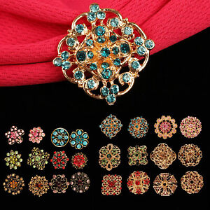 Lot-24-pc-Mixed-Vintage-Style-Golden-Rhinestone-Crystal-Brooch-Pin-DIY-Bouquet