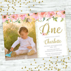 Image Is Loading FIRST BIRTHDAY INVITATIONS FLORAL 1ST GIRL PARTY