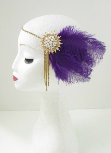 Purple Gold Ivory Feather Headpiece 1920s Flapper Headband Great Gatsby Vtg 108