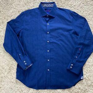 Robert Graham Men's Large Blue All Over Paisley Flip Cuff Long Sleeve Shirt