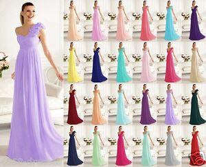 Elegant-Chiffon-One-Shoulder-Floor-Length-Bridesmaid-Dress-Size-6-8-10-12-14-16