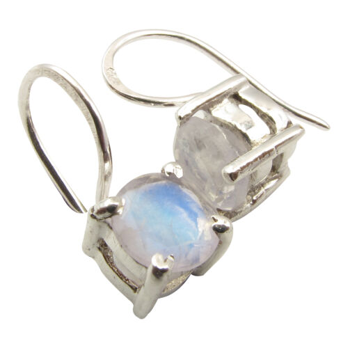 Details about  /Jewelry Set Silver 925 Sterling RAINBOW MOONSTONE 4-Prong Earrings And Pendant