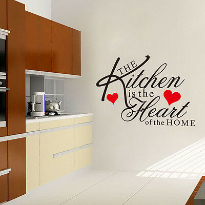 New DIY Art Quote Kitchen Heart Wall Decal Decor Room Stickers Vinyl Mural Home