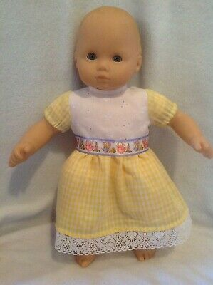 "Easter Chick Dress 15/"" Doll Clothes Handmade To Fit American Girl Bitty Baby"