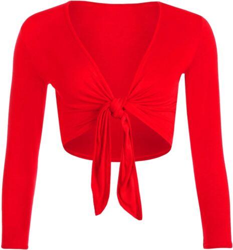 Ladies Plain Plus Size Front Tie Knot Cropped Long Sleeve Bolero Shrugs Tops