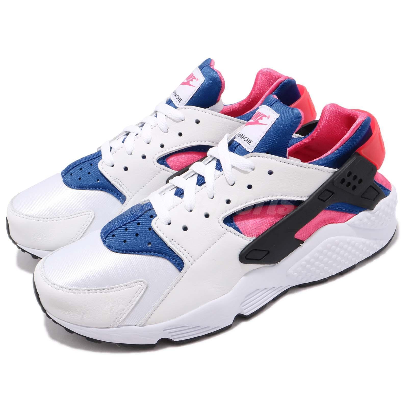 Nike Air Huarache Run 91 QS OG blanc Bleu Pink Hommes Chaussures Sneakers AH8049-100