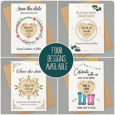 Wedding Save The Date Personalised Wooden PLY Invitation Fridge Magnets
