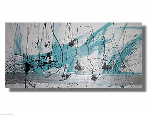 Image is loading huge abstract canvas painting wall art white turquoise