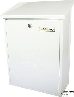 Sterling Grand extra large lockable Outside wall Mail Post Box Letterbox White