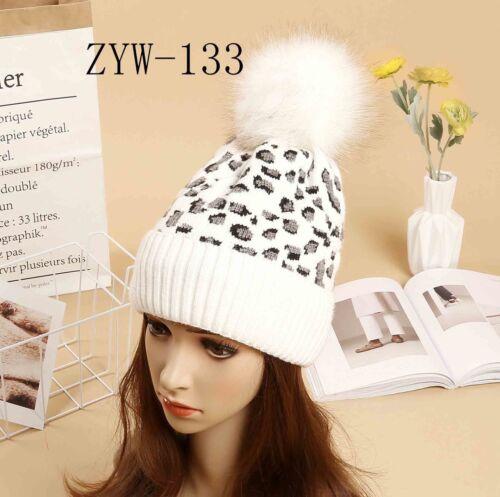 Women's Ladies Leopard Print Pom Pom Faux Fur knitted Winter Hat cap