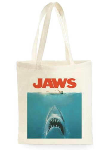 FUNNY JAWS MOVIE POSTER SHOPPING CANVAS TOTE BAG IDEAL GIFT PRESENT