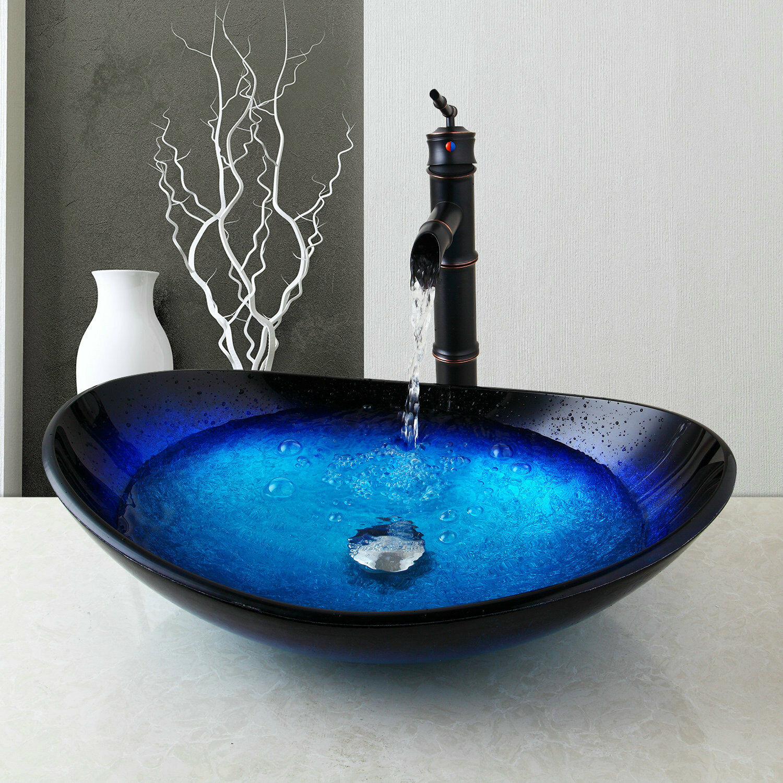 VETRO temperato Bagno Vessel Vanity Sink Bowl Con rubinetto Set + POP-UP