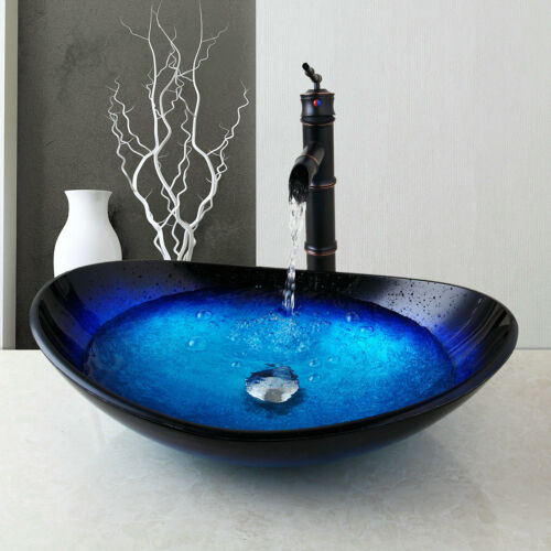 US Bathroom//Kitchen Tempered Glass Vessel Vanity Sink Bowl with Faucet set
