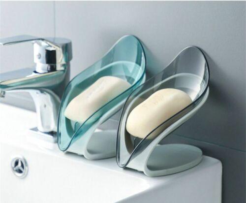 Kitchen Bathroom Plastic Soap Tray Leaf Shape Dish Holder Saver Organizer Box