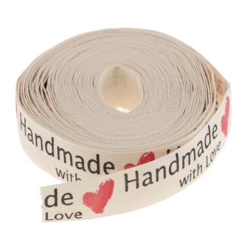 5 METRI Hand Made With Love Cotone Nastro Regalo Wrap CINTURA TAG 15mm