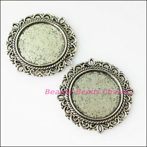 2pcs antiqued silver tone flower round picture frame charms pendants image is loading 2pcs antiqued silver tone flower round picture frame mozeypictures Images