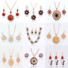 Fashion Woman Wedding Jewelry Sets 18K Gold Plated Crystal Necklace Earrings New