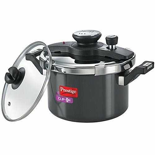 Prestige Clip On Aluminium Pressure Cooker With Glass Lid 5 Litres 2-Pieces