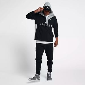 Nike-Air-Jordan-Wings-Mens-Anorak-Wind-Braker-Jacket-Large-Black-Grey-Pullover