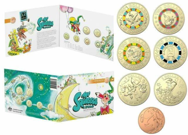 2019 SET 7 MR SQUIGGLE & FRIENDS COIN $1 & $2 1c COLOURED COINS FOLDER RAM