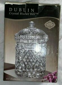 Glass-Crystal-Biscuit-Box-Dublin-Crystal-Biscuit-Box-New-In-Box