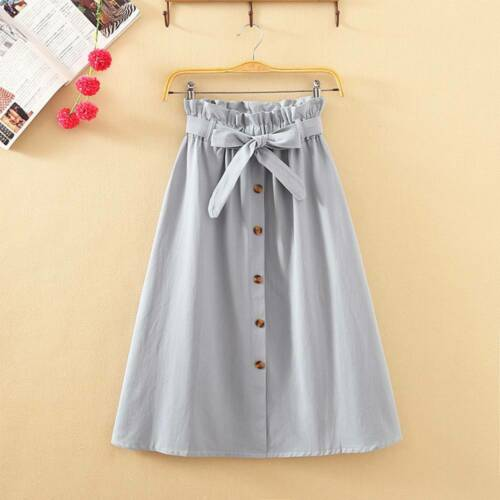 High Waist Midi Skirt Solid Pocket A-Line Women Casual Bottoming Skirt  Sashes