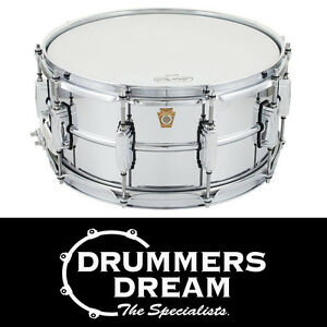 Ludwig-14-x-6-5-039-Chrome-Over-Brass-039-Snare-Drum-Chrome-Plated-Brass-Shell