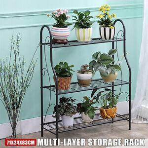 3-Tier-Metal-Plant-Stand-In-Outdoor-Garden-Planter-Flower-Pot-Shelf-Display-Rack